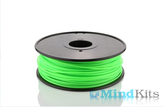 PLA filament, 3.0mm, Fluorescent Green, 1kg/spool