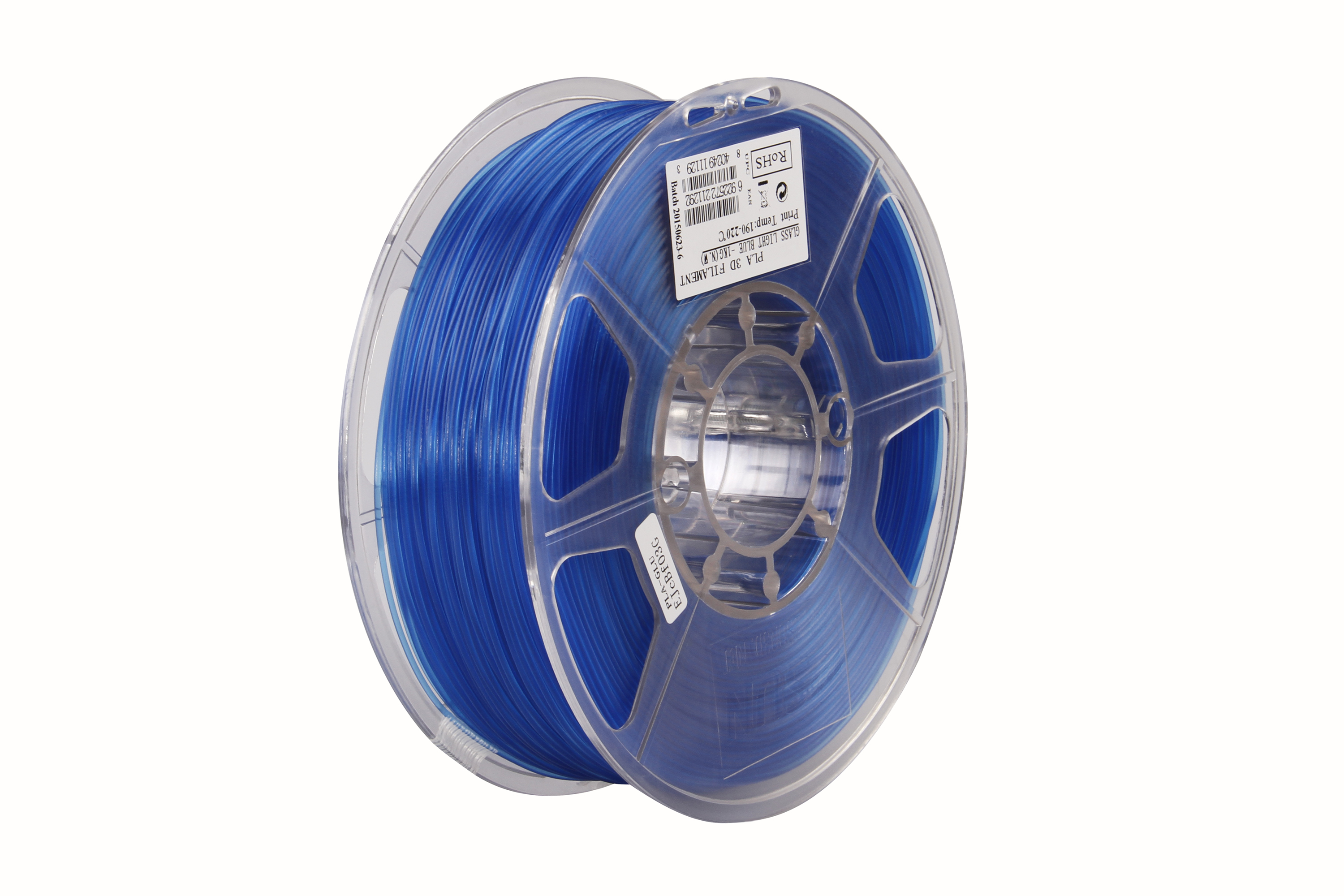 PLA filament, 2.85mm (3.0mm Compatible), Glass Light Blue, 1kg/spool