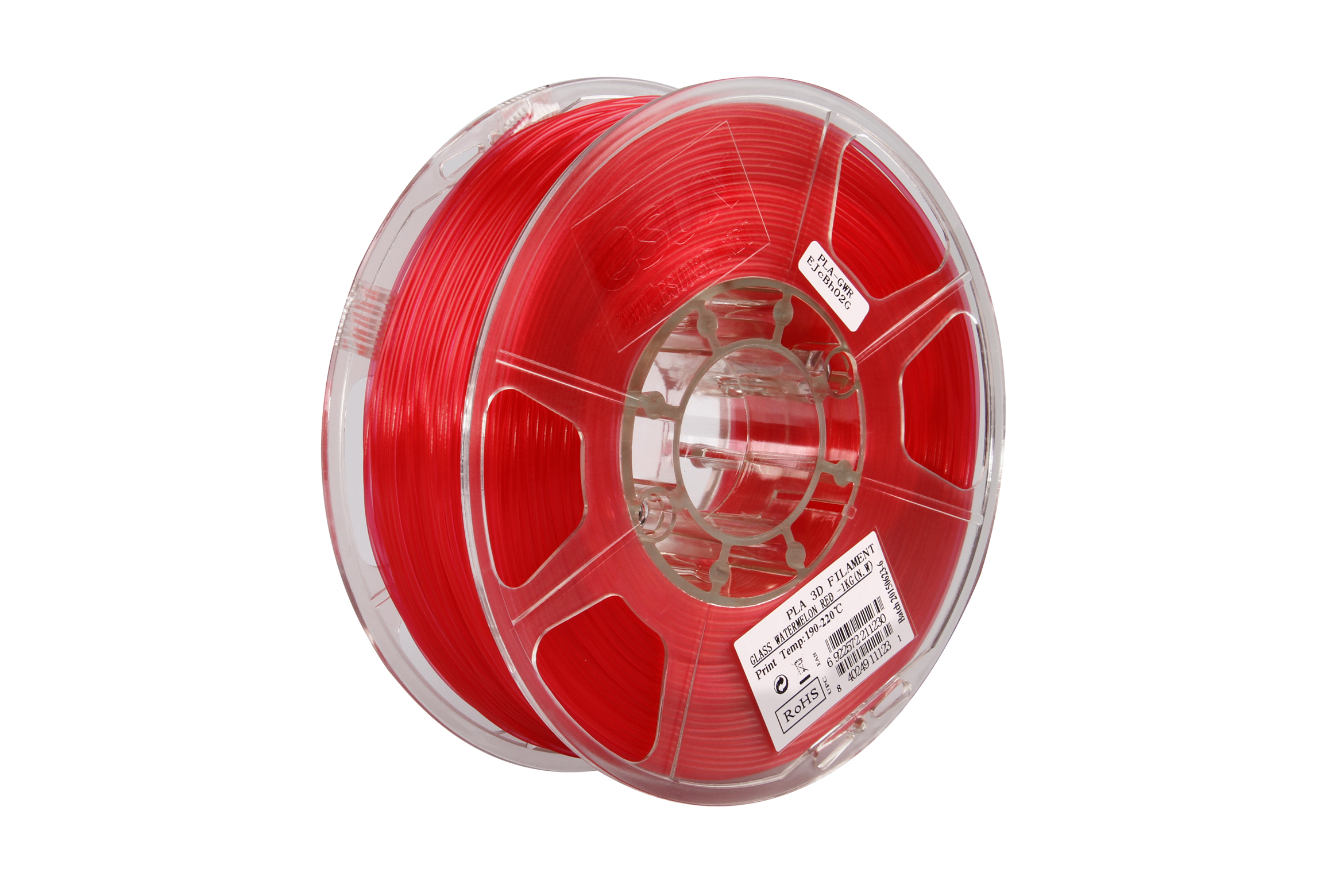 PLA filament, 2.85mm (3.0mm Compatible), Glass Watermelon Red, 1kg/spool