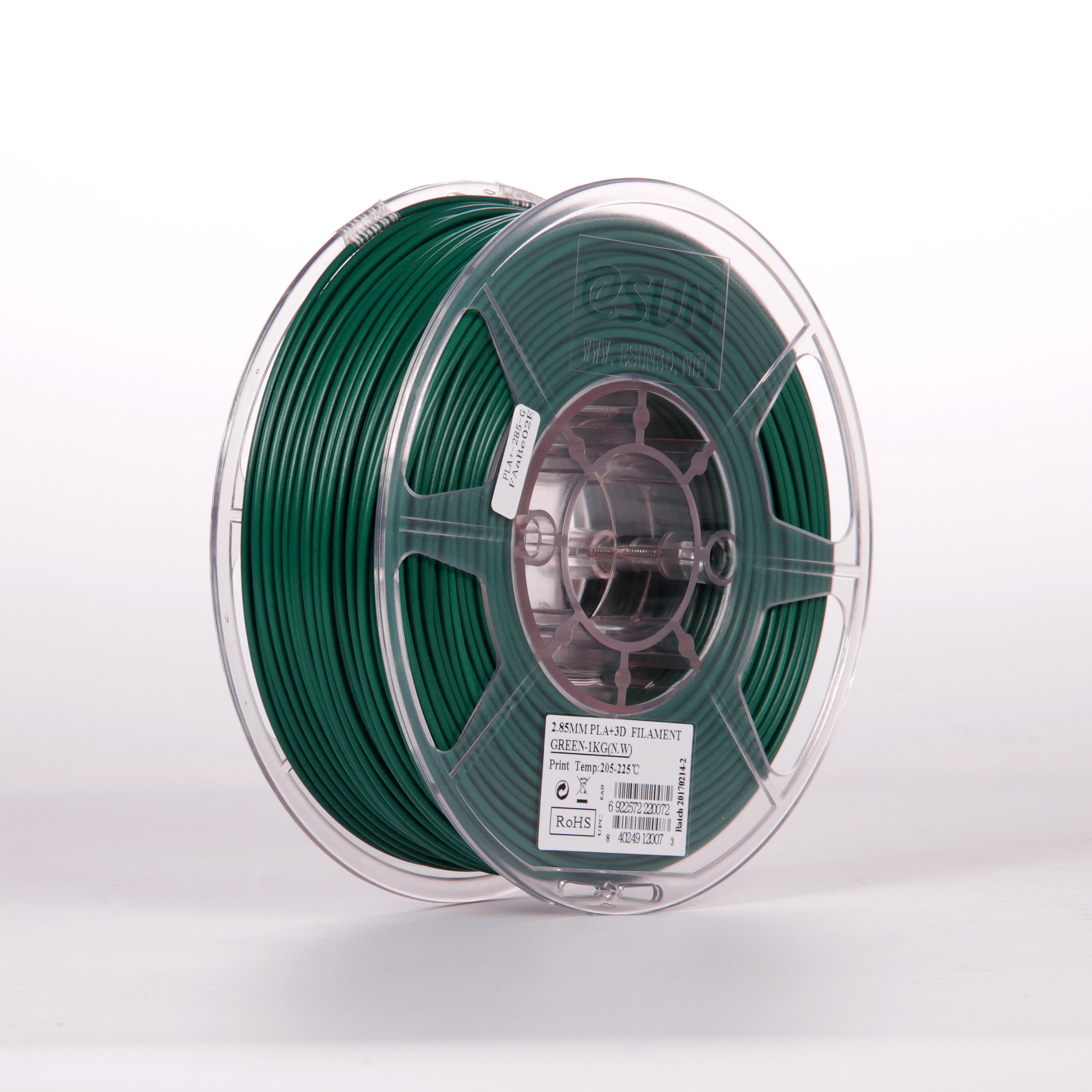 PLA filament, 2.85mm (3.0mm Compatible), Green, 1kg/spool