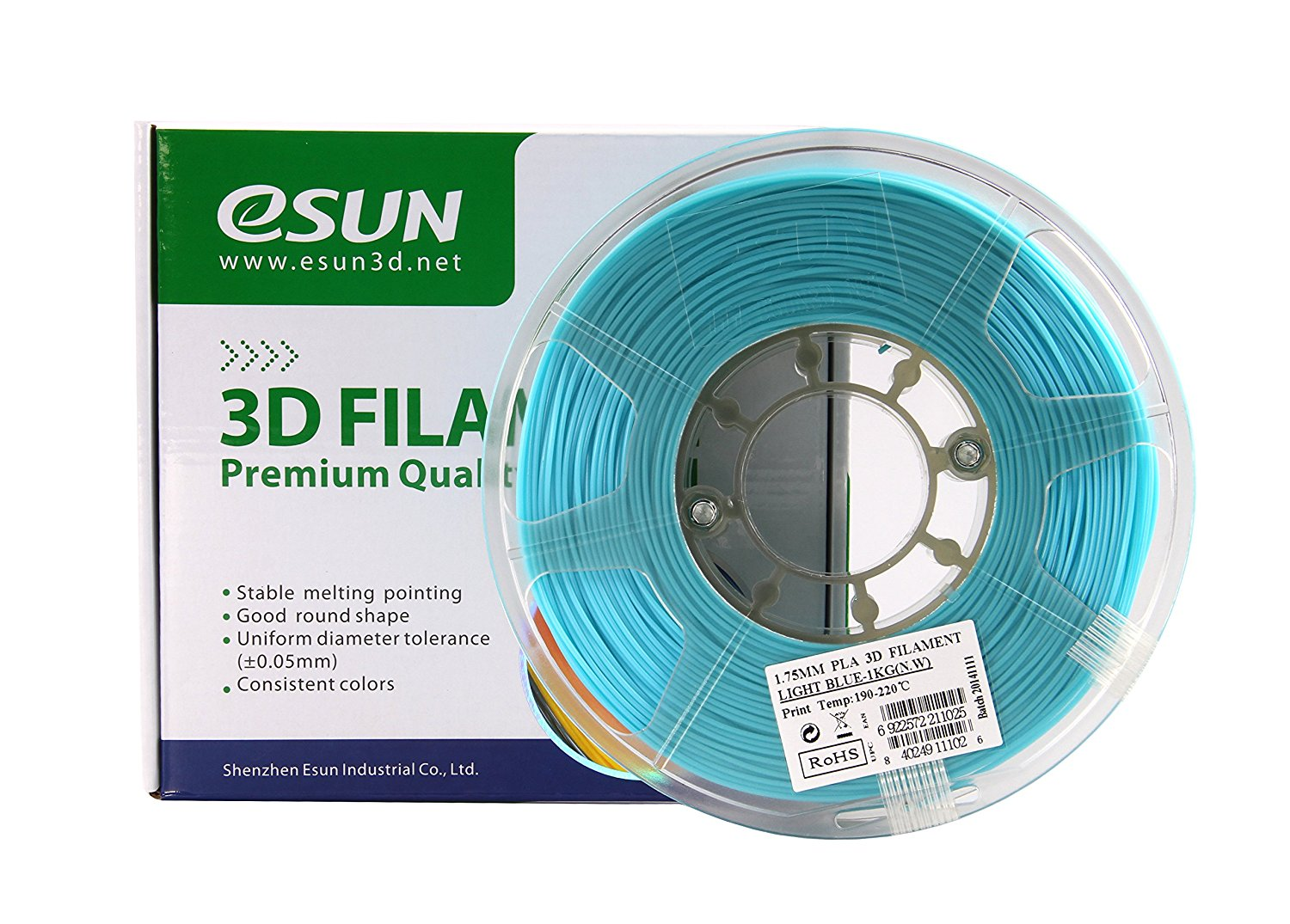 PLA filament, 3.0mm, Light Blue, 1kg/spool