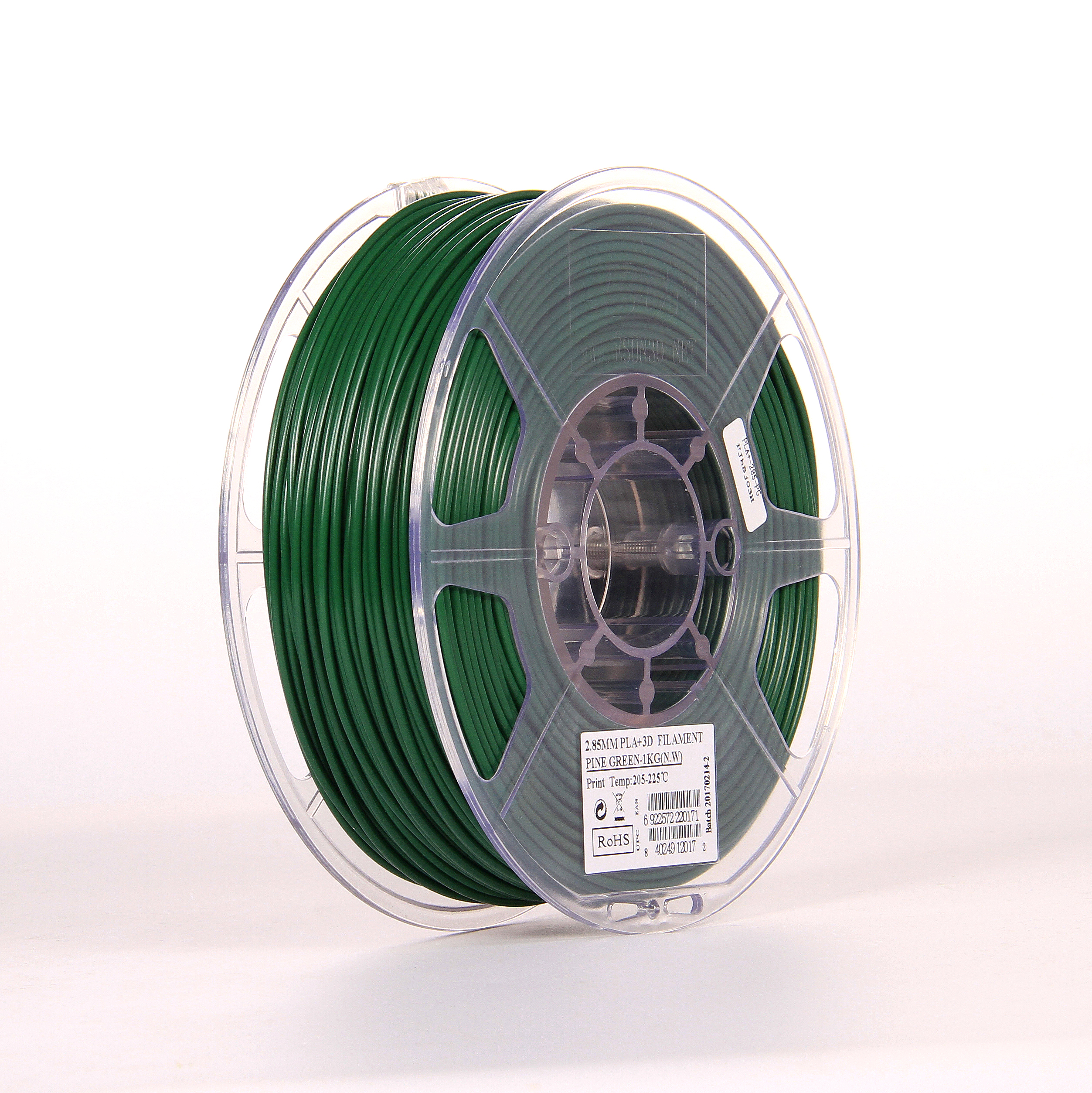 PLA filament, 2.85mm (3.0mm Compatible), Pine Green, 1kg/spool