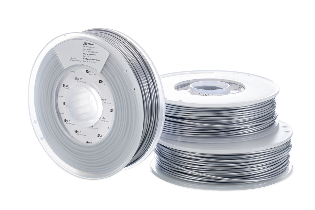 Ultimaker PLA Silver Metallic 750g Spool