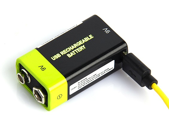 Znter 9V 400mAh USB Rechargeable LiPoly Battery