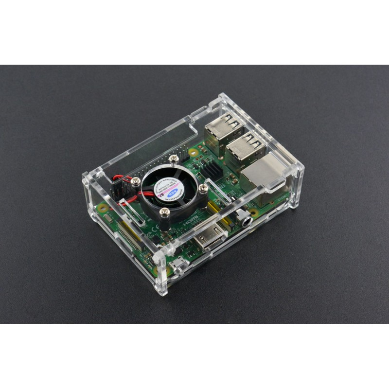 Transparent Acrylic Case with Cooling fan and Heatsink for Pi B+/2B/3B