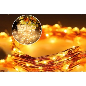 200 LED Solar Powered Fairy Starry Copper Wire Rope lights for Christmas Decorations