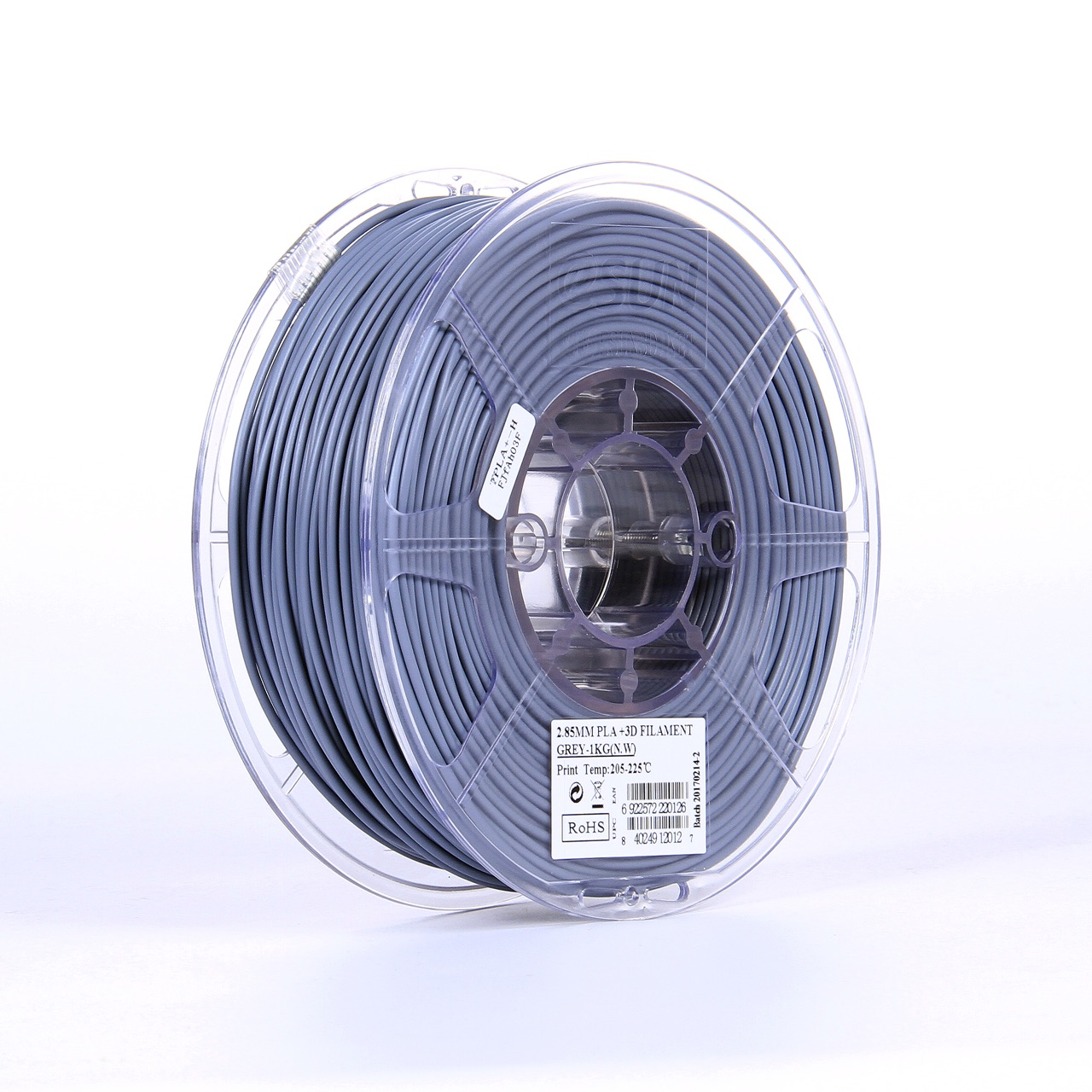 PLA filament, 2.85mm (3.0mm Compatible), Grey, 1kg/spool