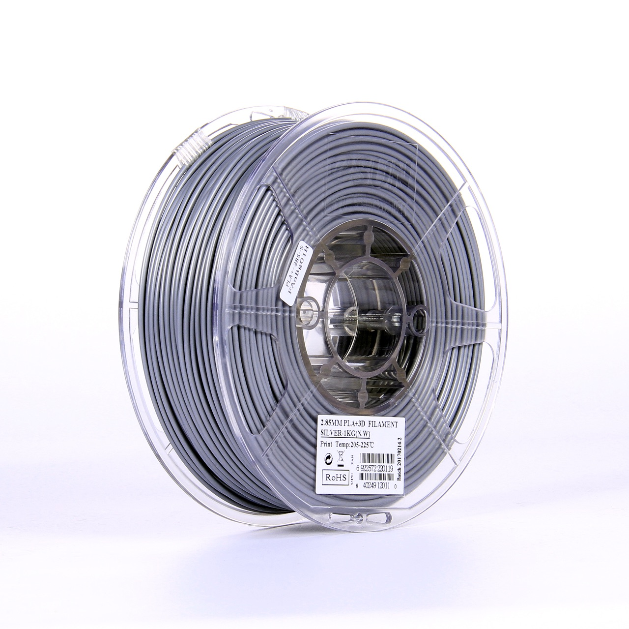 PLA filament, 2.85mm (3.0mm Compatible), Silver, 1kg/spool