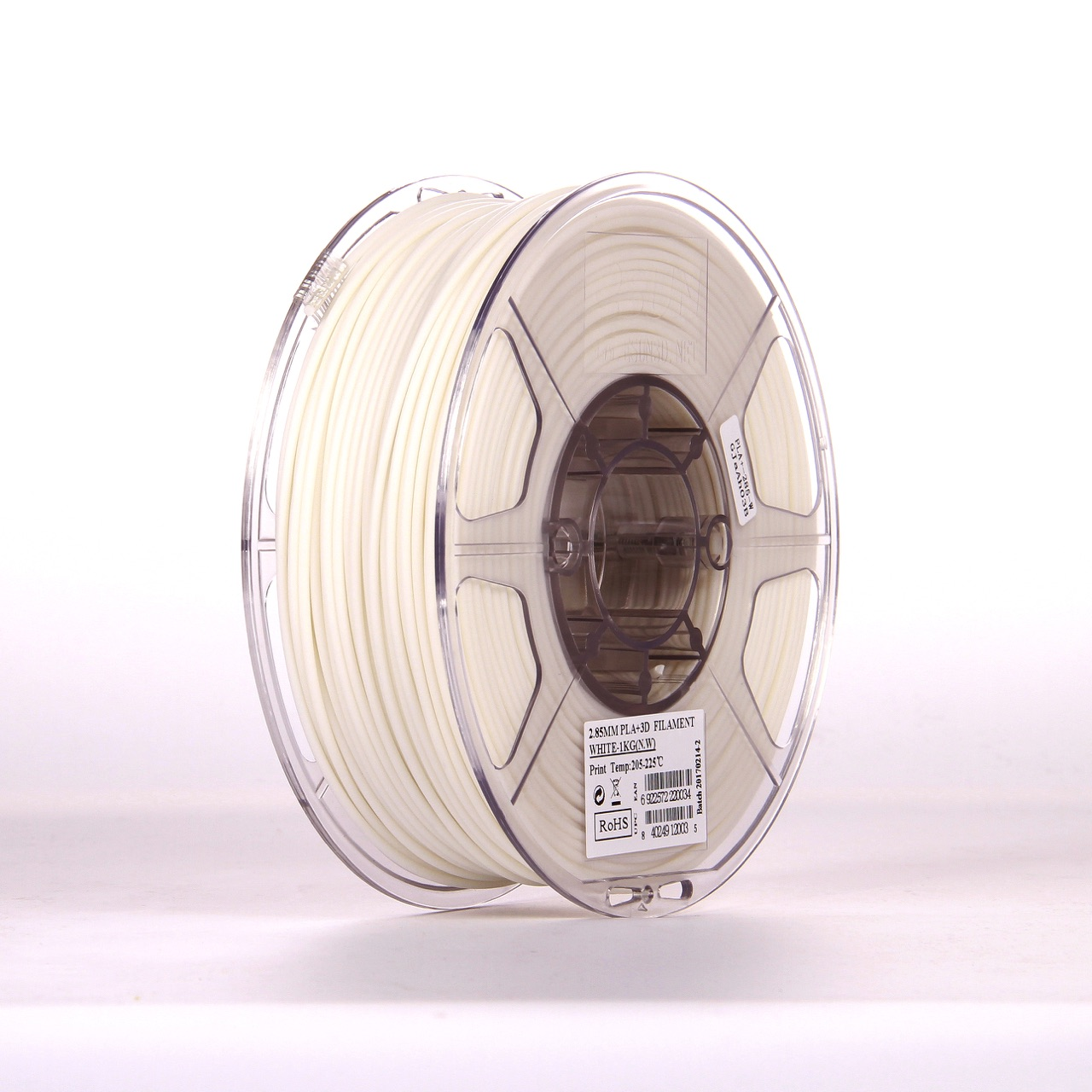 PLA filament, 2.85mm (3.0mm Compatible), White, 1kg/spool