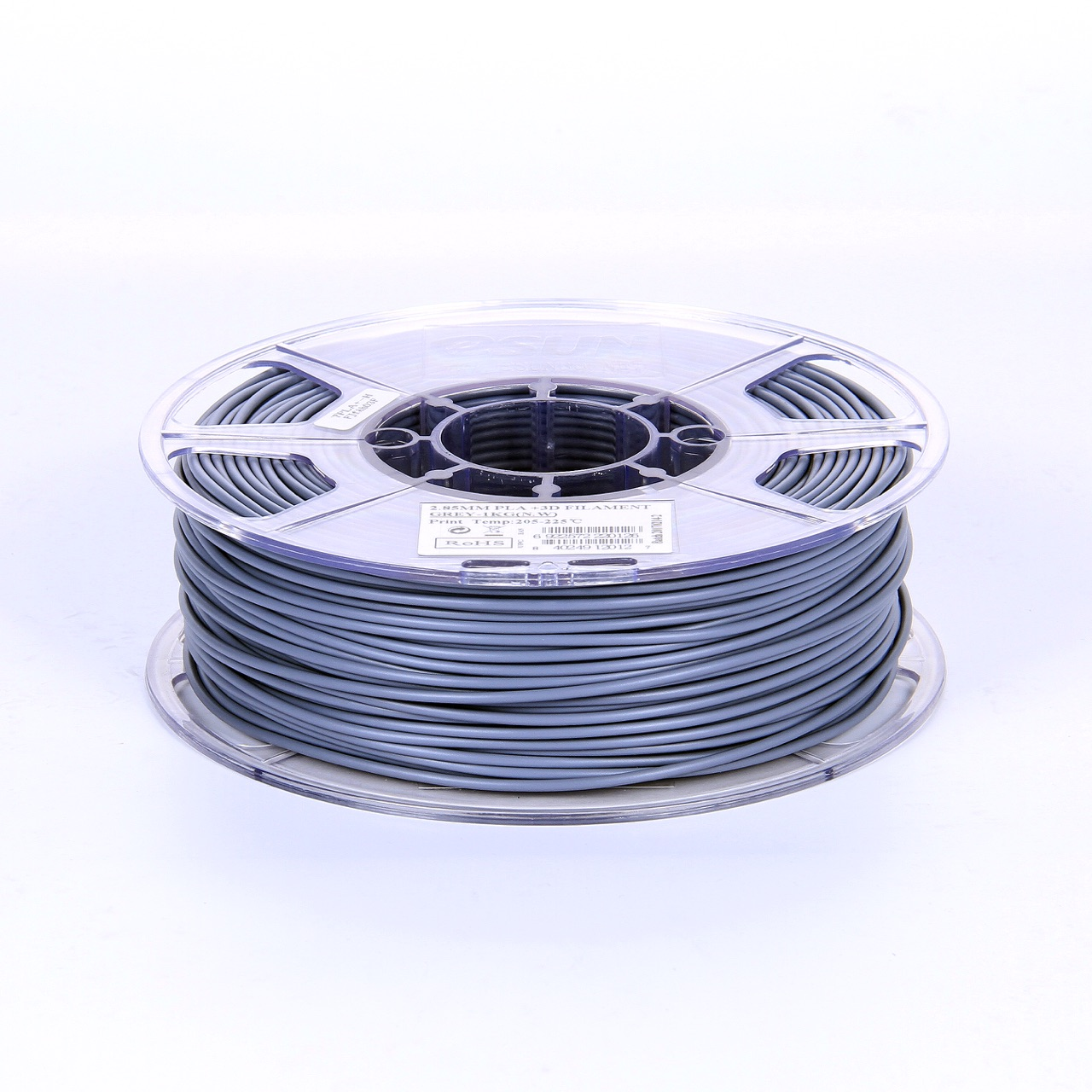 PLA filament, 2.85mm (3.0mm Compatible), Grey, 1kg/spool - MK-PLA300GR