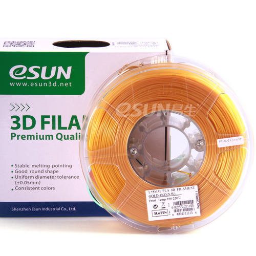 PLA filament, 1.75mm, Gold, 1kg/spool