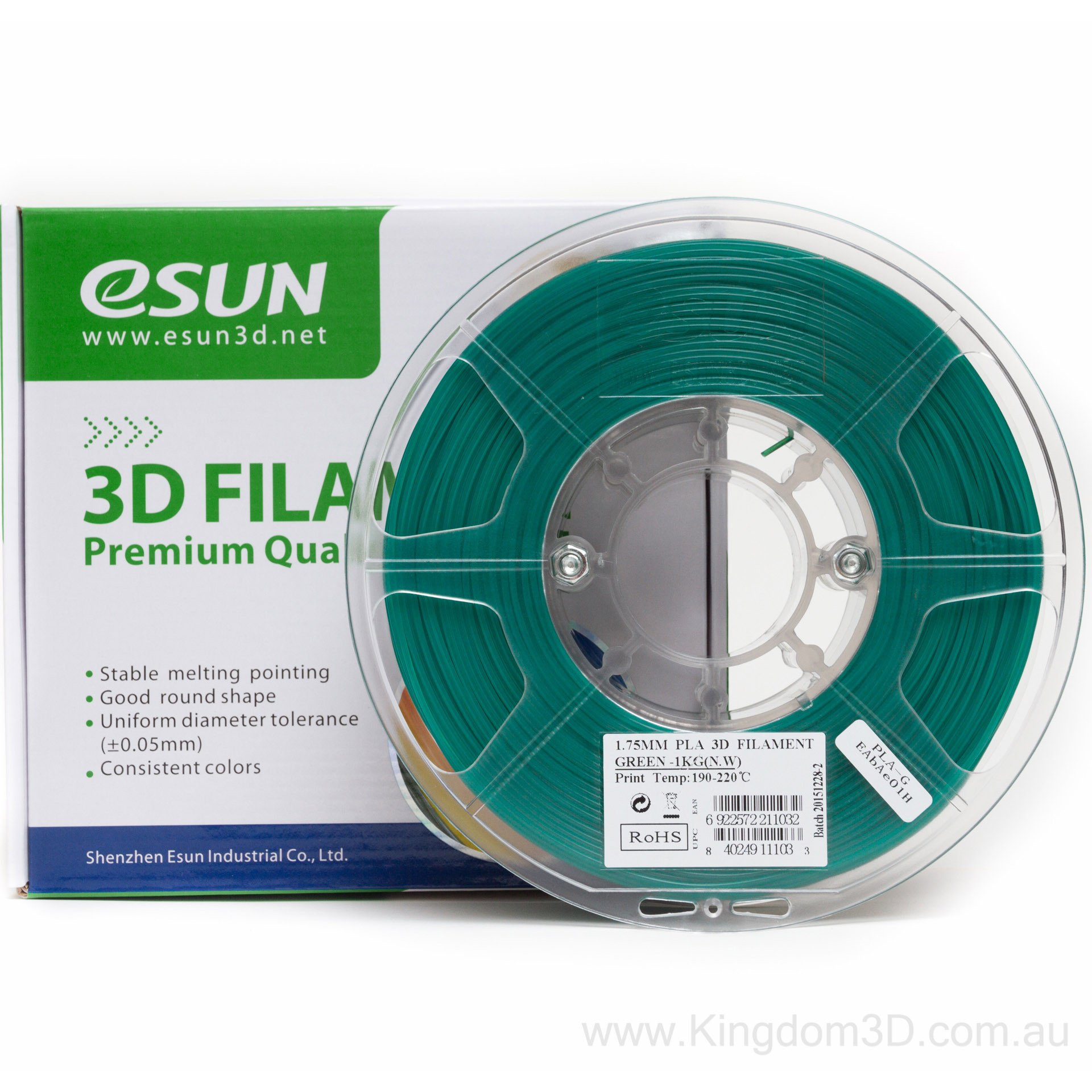 PLA filament, 1.75mm, Green, 1kg/spool