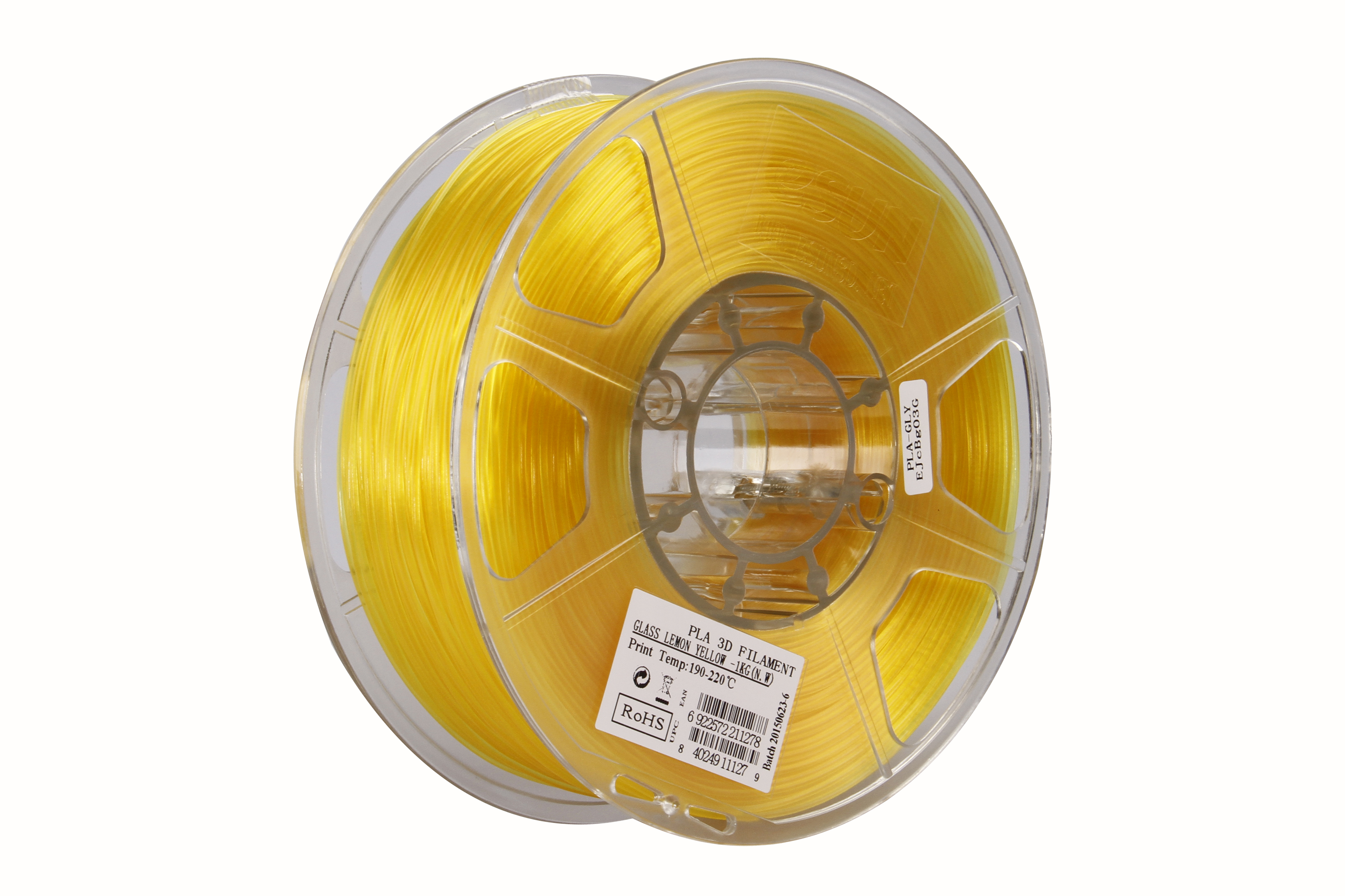 PLA filament, 2.85mm (3.0mm Compatible), Glass Lemon Yellow, 1kg/spool