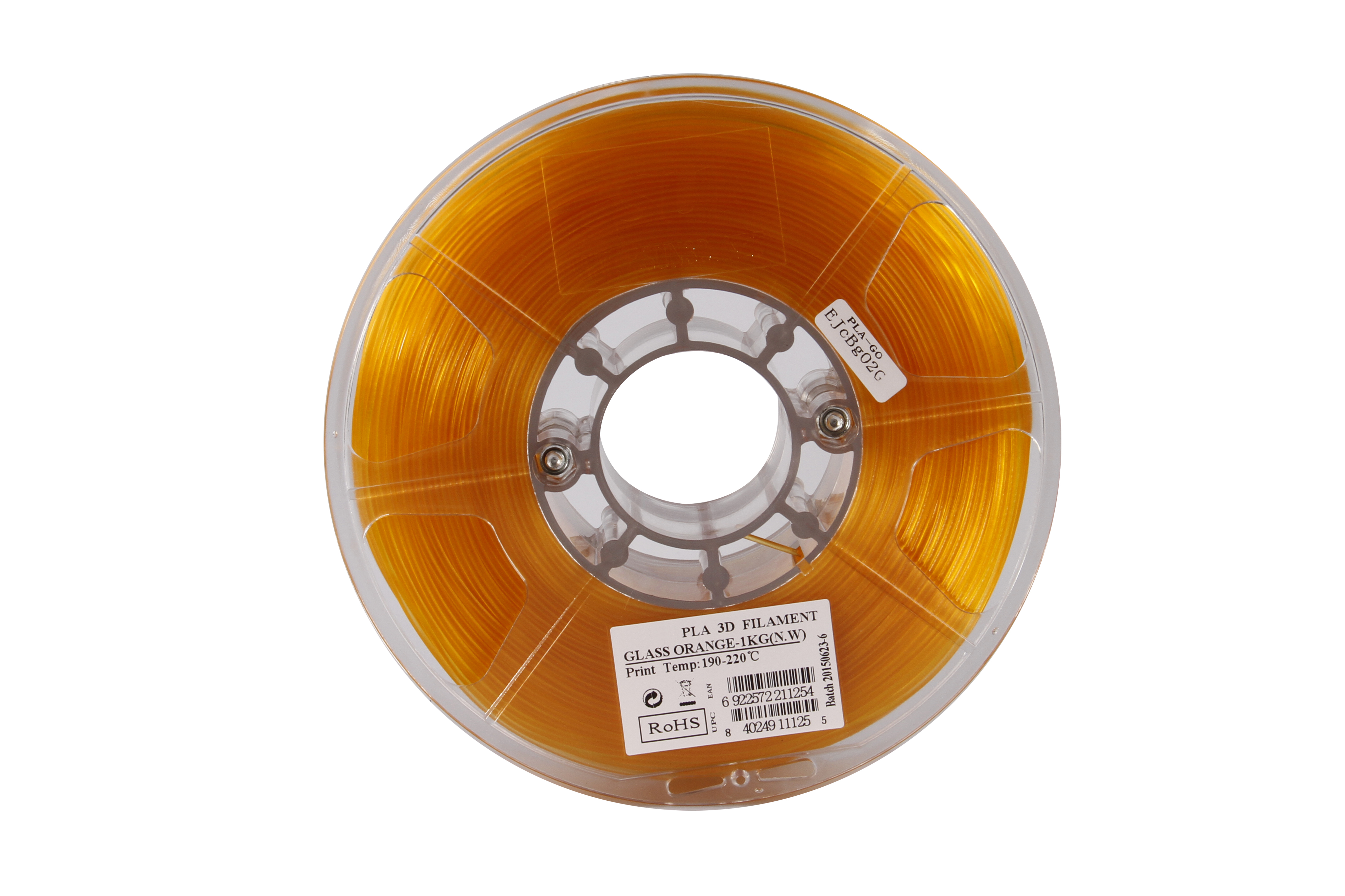 PLA filament, 2.85mm (3.0mm Compatible), Glass Orange, 1kg/spool