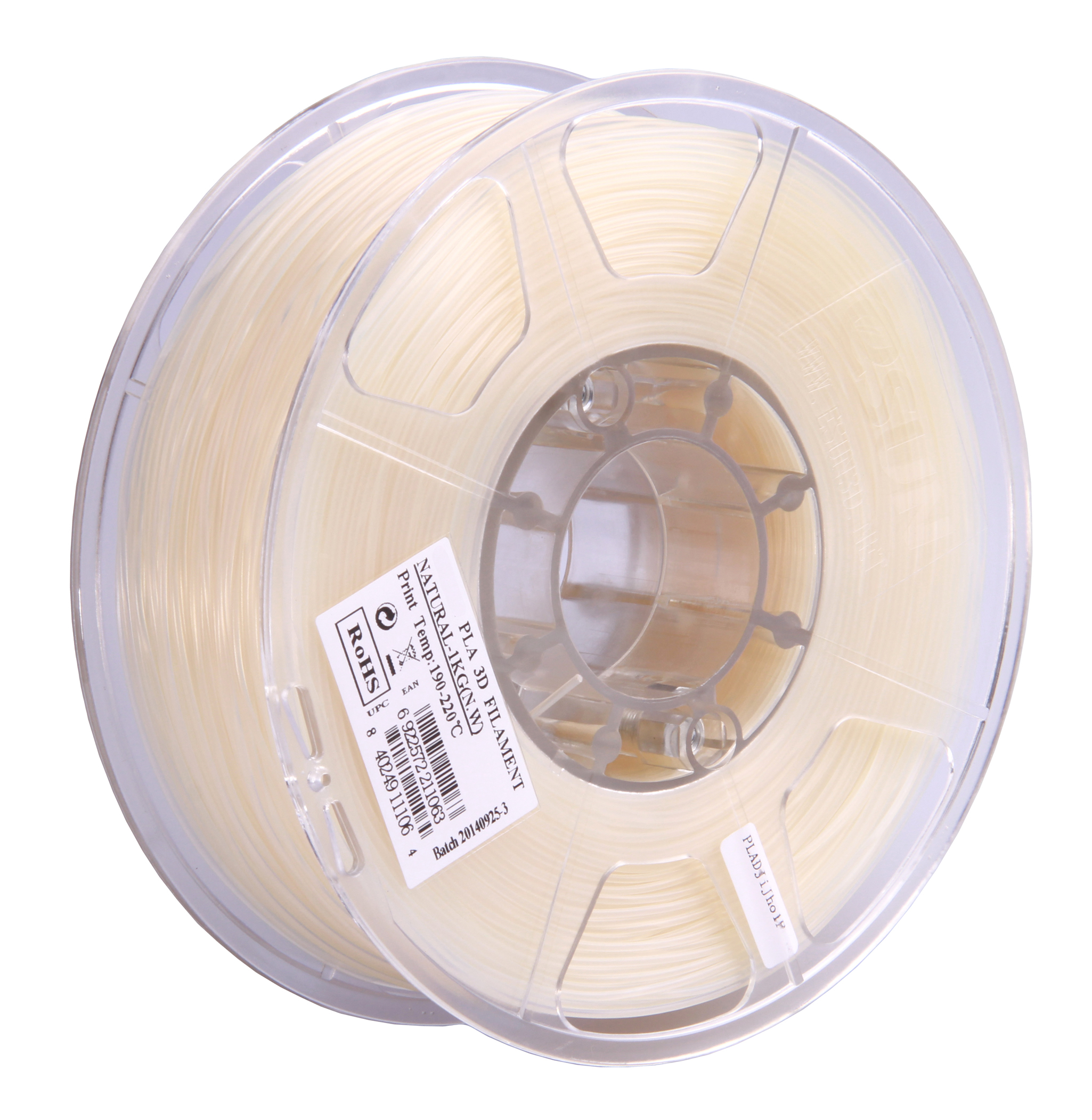 PLA filament, 2.85mm (3.0mm Compatible), Natural, 1kg/spool
