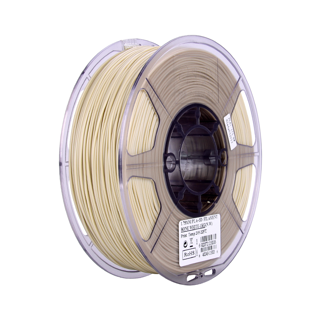 PLA filament, 2.85mm (3.0mm Compatible), Bone White, 1kg/spool