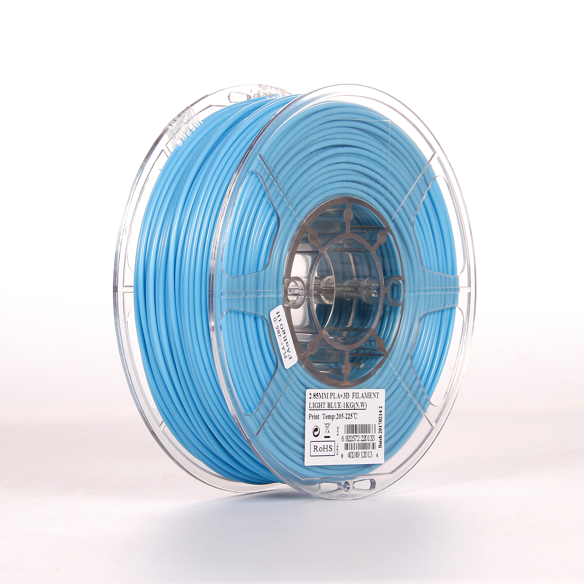 PLA filament, 2.85mm (3.0mm Compatible), Light Blue, 1kg/spool