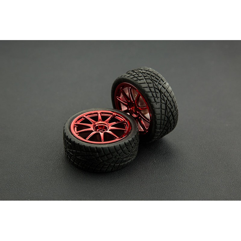 D65mm Rubber Wheel Pair - Red (Without Shaft)