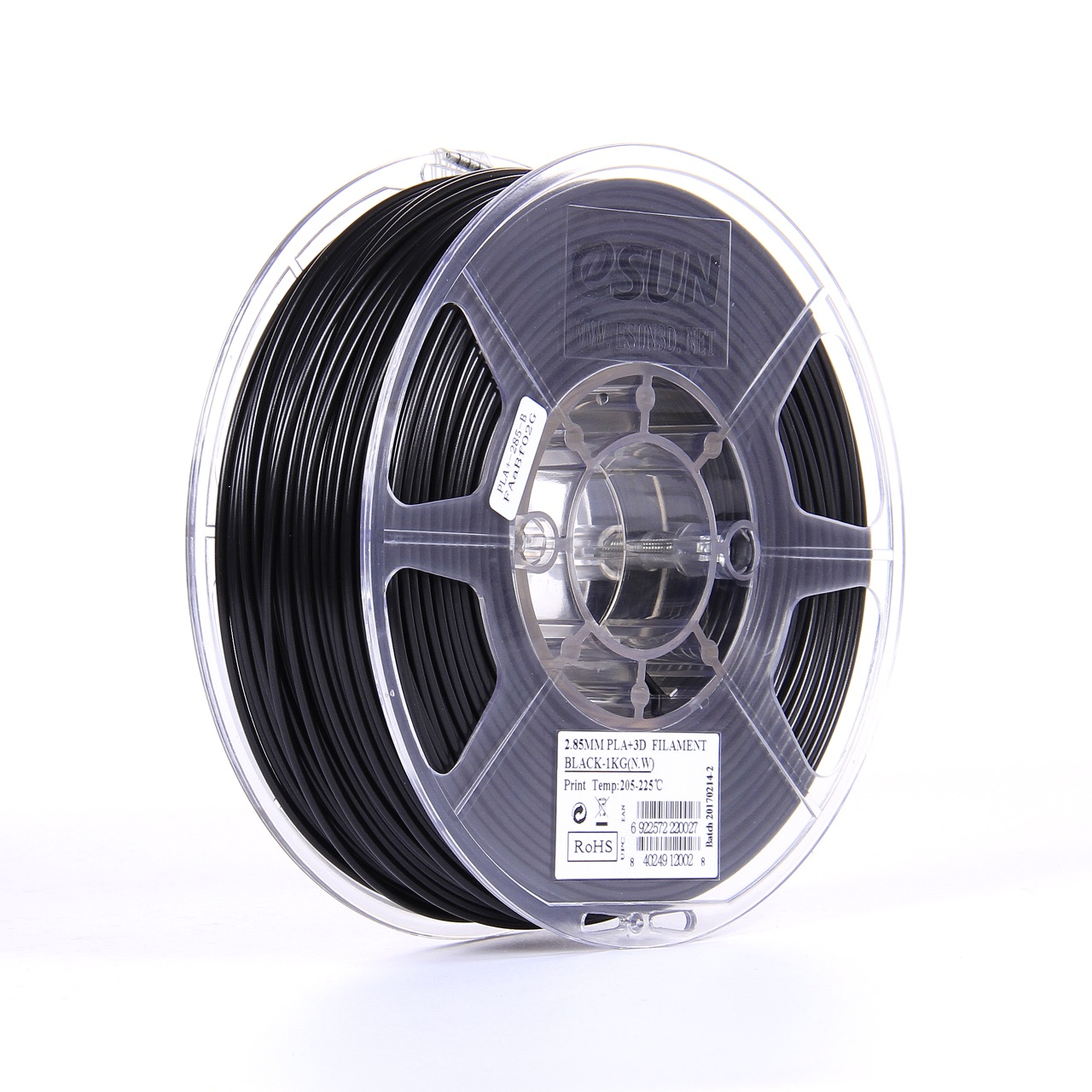 PLA filament, 2.85mm (3.0mm Compatible), Black, 1kg/spool