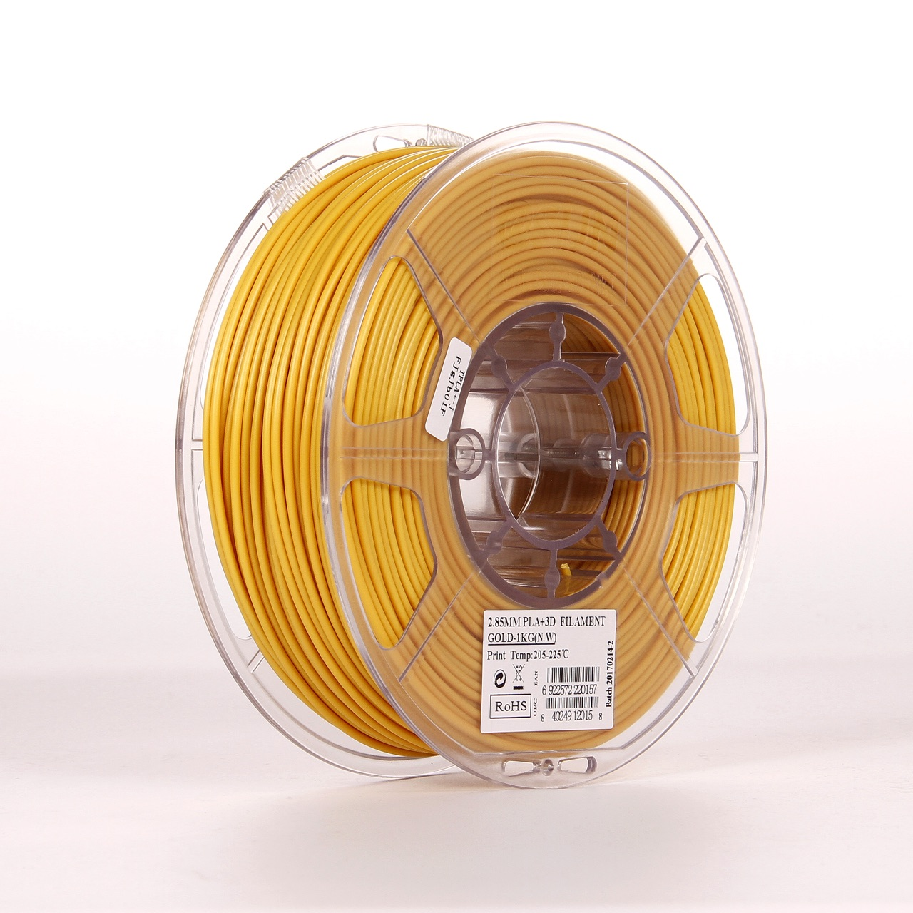 PLA filament, 2.85mm (3.0mm Compatible), Gold, 1kg/spool