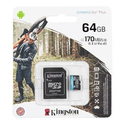 Kingston Canvas Go! Plus 64GB MicroSD Card with Adapter