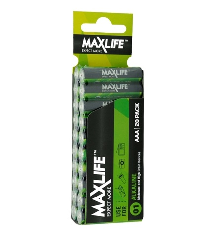Maxlife Alkaline Batteries 20 Pack Green